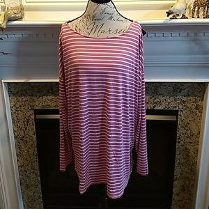 NEW Ava & Viv Long Sleeve Top Striped w/Stretch 3X